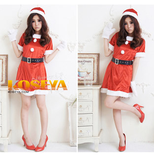 Red Short Women Santa Claus Costume Christmas Costume