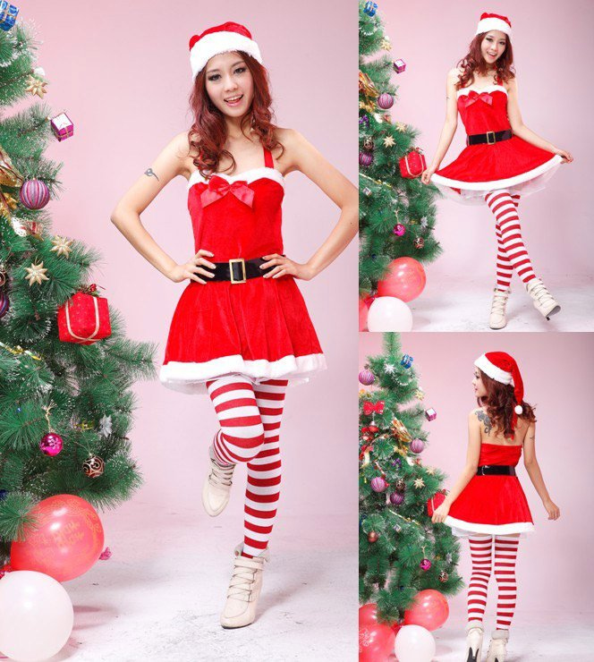 Santa Claus Costume Helper Girl Christmas Costume