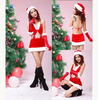 Red sexy santa christmas bikini costume