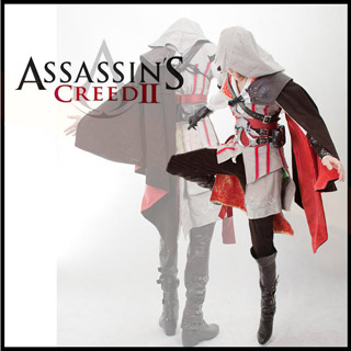 Assassin\'s Creed 2 II Ezio white anime  Cosplay Costume