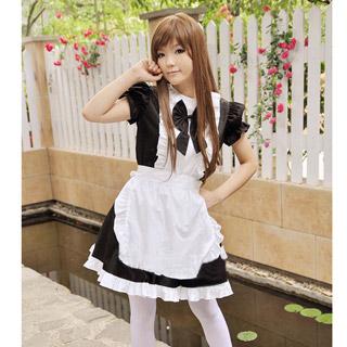 コスチューム リボン付き 黒 メイド服 コスプレ衣装