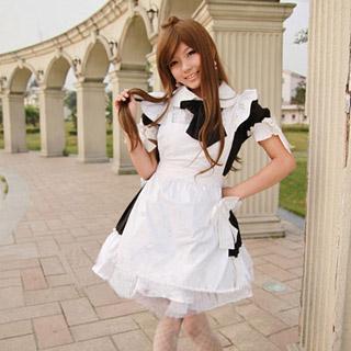 コスチューム リボン付き 黒 ウェイトレス メイド服 コスプレ衣装