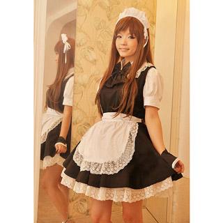 コスチューム 黒いリボン レース 可愛い メイド服 コスプレ衣装