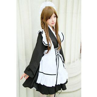 コスチューム 和風 白いエプロン ブラック メイド服 コスプレ衣装