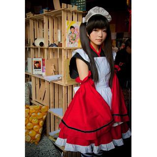 コスチューム 和風 みこ ロリィタ/ロリータ 白いエプロン ブラックとレッド メイド服 コスプレ衣装