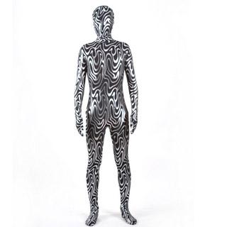 光沢 メタリック シルバー+ブラック セクシー 全身タイツ 仮装 コスチューム