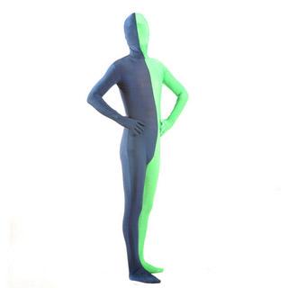 通気 柔らかい グレー+グリーン ツートンカラー ライクラ 全身タイツ 仮装 コスチューム