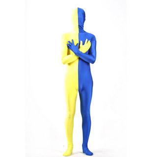 通気 柔らかい 黄色+ブルー ツートンカラー ライクラ 全身タイツ 仮装 コスチューム