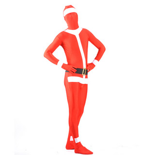 通気 柔らかい レッド+ホワイト マルチカラー ライクラ 全身タイツ 仮装 コスチューム