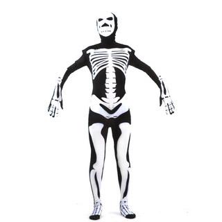 通気 柔らかい 髑髏 プリント ライクラ 全身タイツ 仮装 コスチューム