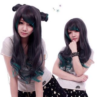 COS通用 普段着もok ファッション 斜め前髪 ブラウン系+ブルー 多色 ロング 巻き髪 コスプレウィッグ