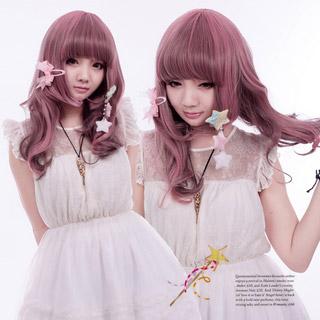 COS通用 普段着もok ファッション前髪ぱっつん アッシュピンク マルチカラー セミロング 巻き髪 コスプレウィッグ