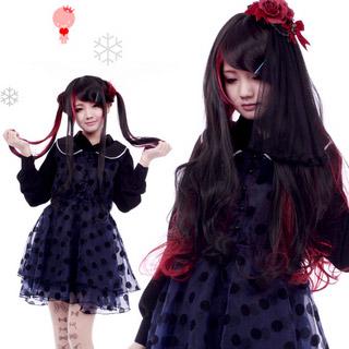 COS通用 普段着もok 男女通用 ファッション 斜め前髪 ブラック+レッド ロング 巻き髪 コスプレウィッグ