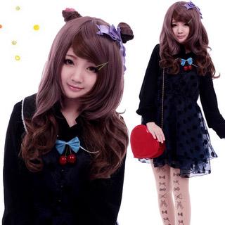 COS通用 普段着もok ファッション 斜め前髪 ブラウン系 マルチカラー セミロング 巻き髪 コスプレウィッグ