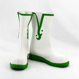 鬼灯の冷徹 白澤(はくたく) ホワイトとグリーン 合皮 ゴム底 低ヒール コスプレ靴