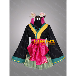 VOCALOID Hatsune Miku Project DIVA 2nd Courtesan butterfly kimono Cosplay Costume
