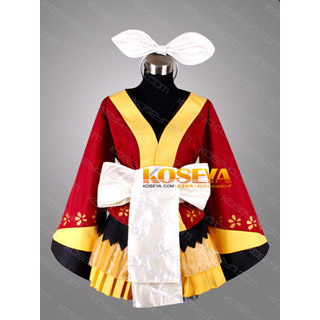 VOCALOID Kagamine Rin Project DIVA 2nd Courtesan butterfly kimono Cosplay Costume