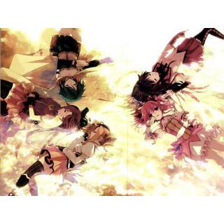 魔法少女まどか☆マギカ 巴 マミ/暁美 ほむら/鹿目 まどか/美樹 さやか/佐倉 杏子 家族肖像画 ベッドカバー、オリジナル布団カバー、アニメシーツ