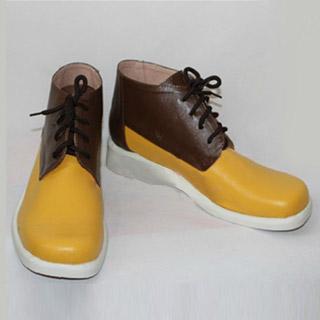 Free! 橘 真琴(たちばな まこと) ブラウンと黄色 合皮 ゴム底 低ヒール コスプレ靴