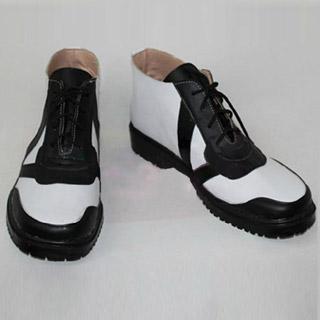 Free! 竜ヶ崎 怜(りゅうがざき れい) ブラックとホワイト 合皮 ゴム底 低ヒール コスプレ靴