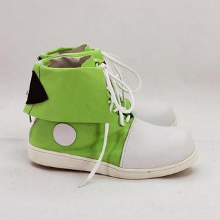 陽炎Project きど つぼみ 緑とホワイト 合皮 ゴム底 低ヒール コスプレブーツ