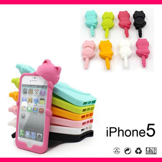 kiki猫 iPhone5 ケース イヤホンジャック用ピアス付き 携帯ケース