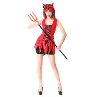 ハロウィン 大人仮面舞踏会衣装 赤い悪魔 ワンピース コスチューム