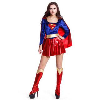 ハロウィン スーパーマン 大人仮面舞踏会衣装 パーティー服 女性制服 コスチューム