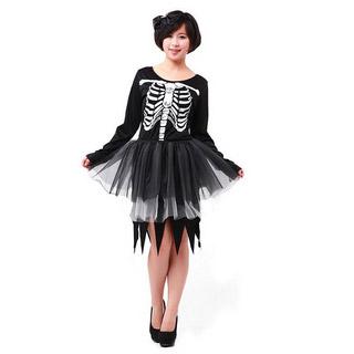 ハロウィン パーティー衣装 仮面舞踏会衣装 ハロウィンスカル レースのドレス コスチューム