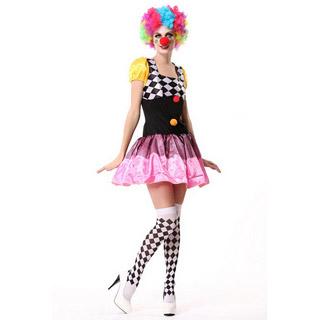 ハロウィン 大人仮面舞踏会衣装 パーティー服 魔術ショー 女性ピエロ 黒白格子縞 制服 コスチューム