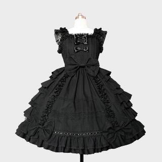 リボンプリーツドレス 黒/白 ジャンパースカート ゴシック服 ドレス ロリータワンピース
