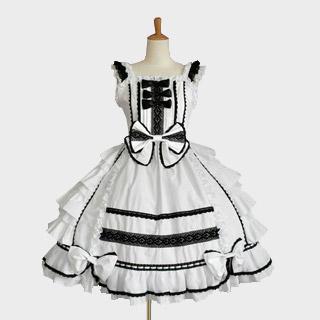 ロリィタ/ロリータ リボンプリーツドレス 5色 ジャンパースカート ワンピース