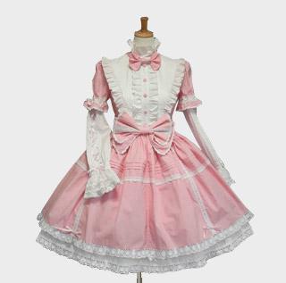 プリンセスドレス ロリィタ/ロリータワンピース リボン レース 長袖 ピンク 女性L即納可能  ゴスロリ ワンピース
