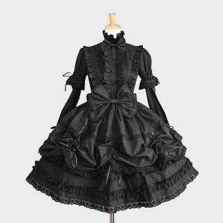 プリンセスドレス ゴシック服 ドレス/ロリータワンピース ブラック リボン レース 長袖 ゴスロリ ワンピース