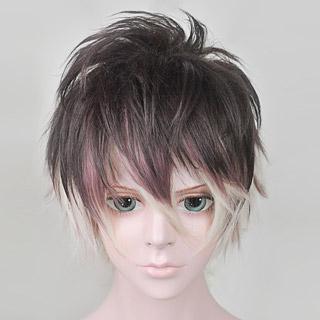 DIABOLIK LOVERS -ディアボリックラヴァーズ- 無神ルキ(むかみ ルキ) 紫と白を帯びたブラウン ショート コスプレウィッグ