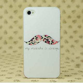 pcハード材質携帯ケース おもしろミックスひげ iPhone4/4s/5 ケース