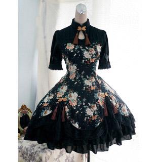 ゴシック服 ドレス/ロリータワンピース お嬢様 ブラック 半袖 ボタン模様 人気中華風 綿質
