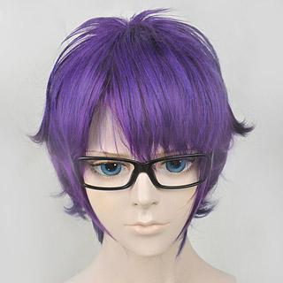 メガネブ! 針生 恭介(はりう きょうすけ) ショート 紫 コスプレウィッグ
