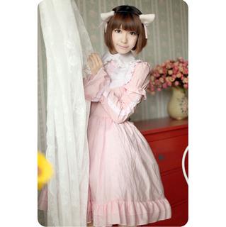 ロリィタ/ロリータ プリンセスドレス レース ピンク 綿質 長袖 袖取り