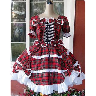 タータンチェック ロリィタ/ロリータワンピース 編み上げ 半袖 赤 蝶むすび 黒いシルクハット