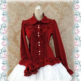 編み上げ ロリィタ/ロリータシャツ 長袖  4色あり 糸、麻 レース