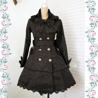 ダスターコート 襟取り リボン 蝶むすび 黒 べっちん ゴシック服 ドレス ロリータワンピース
