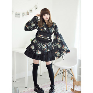 和服式洋服  ロリィタ/ロリータ プーケ 蝶むすび 黒 上下セット