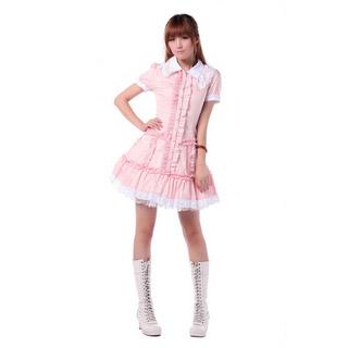 ロリィタ/ロリータワンピース 学園風 半袖 ピンク ブラック 綿質