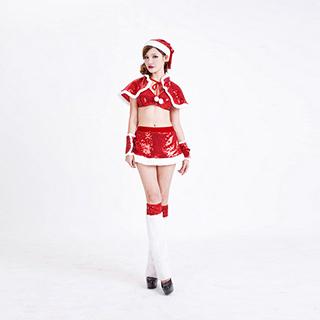 クリスマス コスチューム セクシー レディース ピカピカ ワンピース(6点セット) サンタ衣装