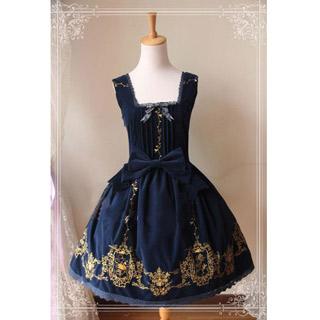 ロリィタ/ロリータワンピース 編み上げ 蝶むすび 裾のレース 刺繍の花柄 4色あり
