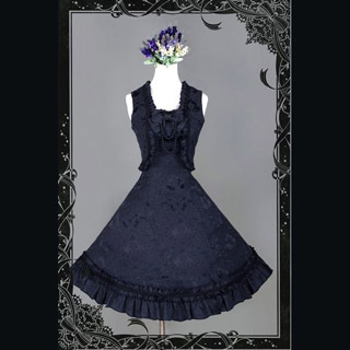 編み上げ ロリィタ/ロリータワンピース 蝶結び付き髪飾り 高貴 綿質 ブラック ブルー