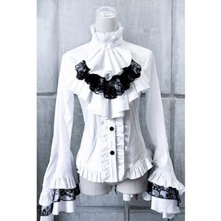 ロリィタ/ロリータシャツ 長袖 編み上げ 袖口のレース 2色あり 綿質 ゴスロリ