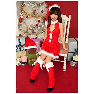 クリスマス サンタ コスプレ 三つの白い玉ドレス セクシー ドレス フリーサイズ 激安 サンタ 衣装 クリスマス コスチューム 仮装グッズ コスプレ衣装