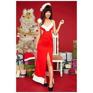 クリスマス サンタ コスプレ 深いVのドレス セクシー ドレス フリーサイズ 激安 サンタ 衣装 クリスマス コスチューム 仮装グッズ コスプレ衣装